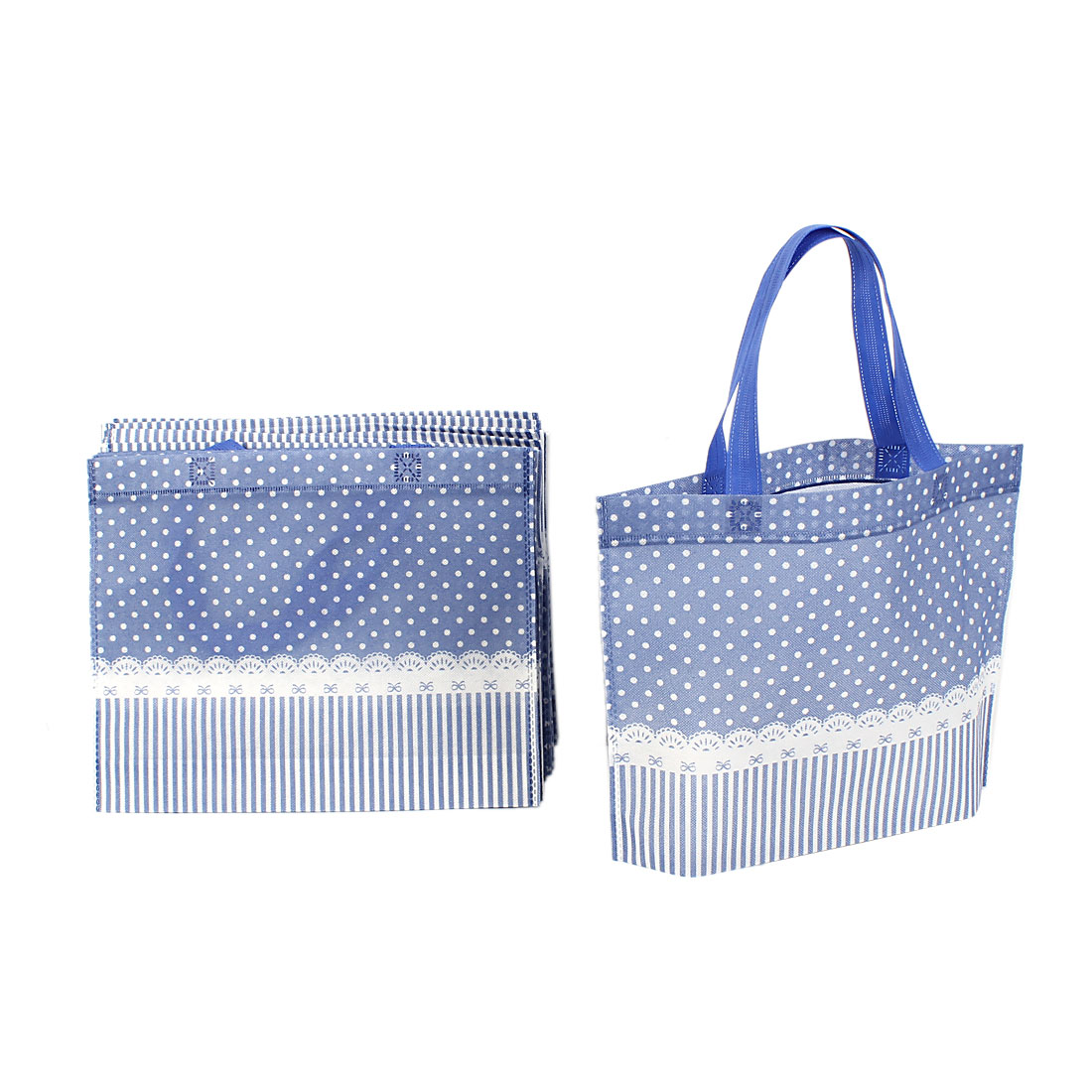 Non Woven Dots Printed Reusable Shopping Bag 35cm x 28cm Blue 20 Pcs