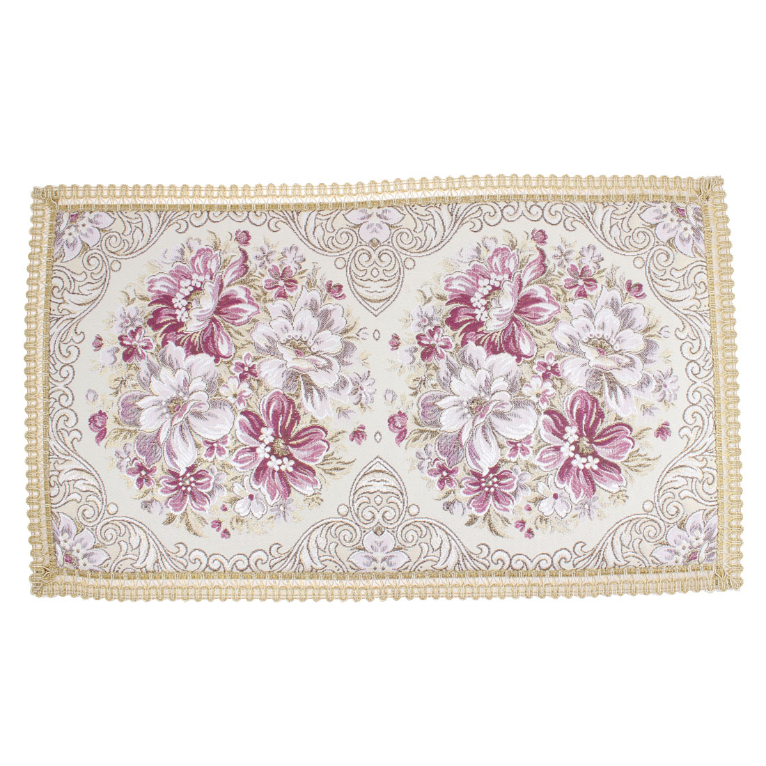 Flower Embroidery Table Cup Mat Placemat 55.5 x 32cm