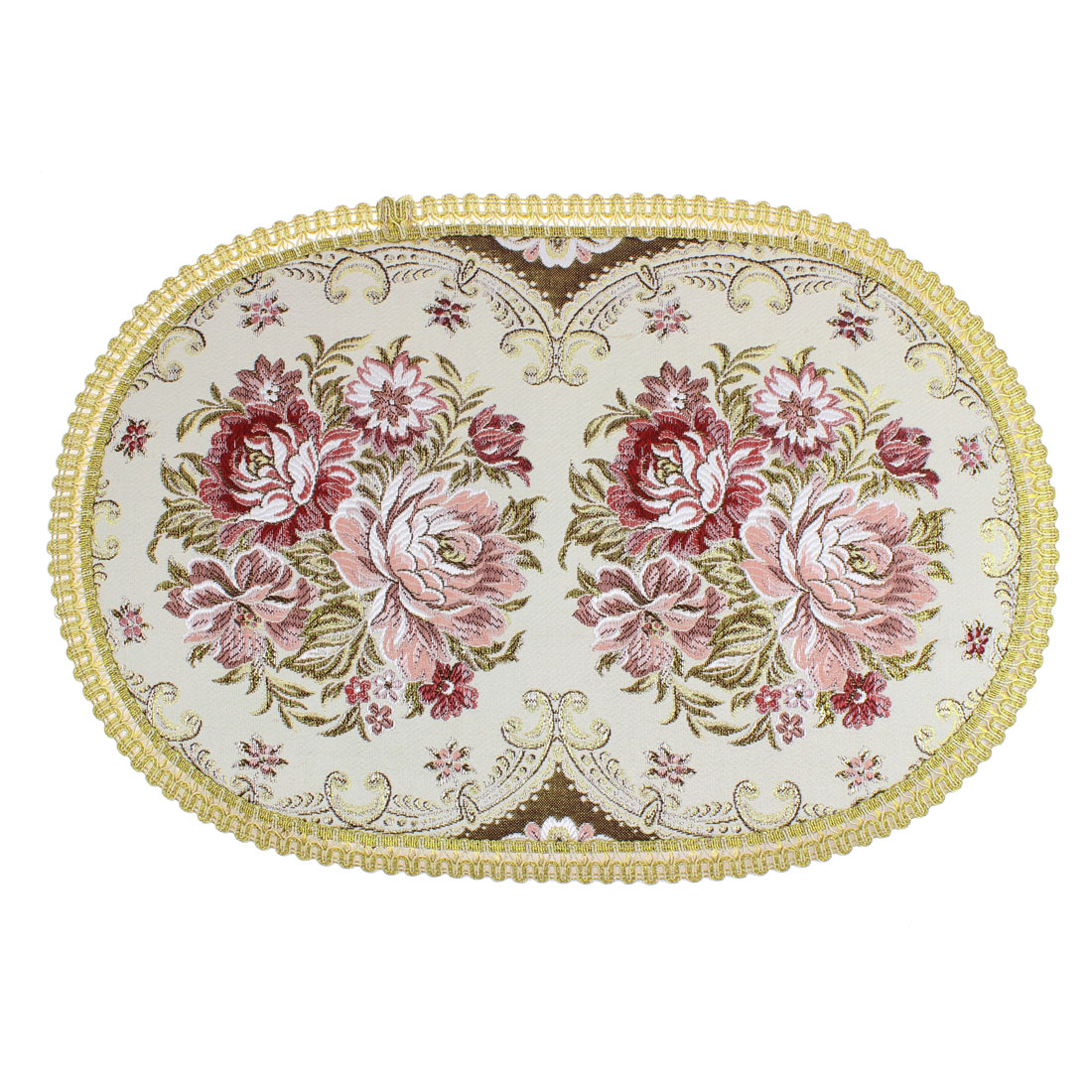 "Flowers Embroidered Pattern Oval Shaped Table Mat 19"" x 12.5"""