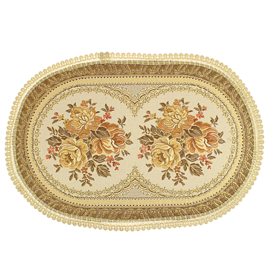 Flower Embroidered Pattern Oval Shape Table Mat