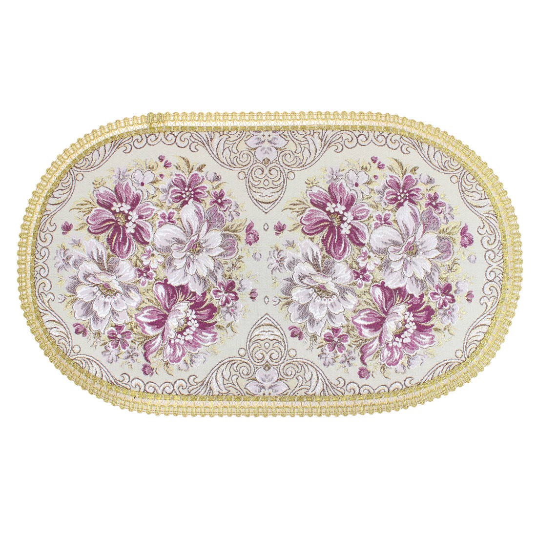 "Oval Shape Flowers Pattern Table Cup Mat Carpet 22"" Length"