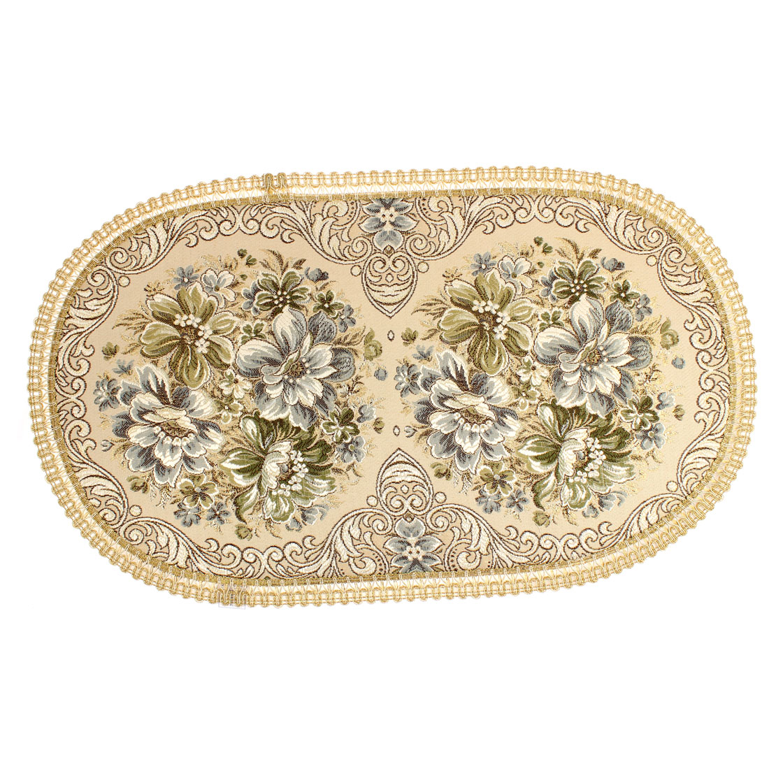 Flowers Pattern Oval Shaped Dining Table Mats Coaster