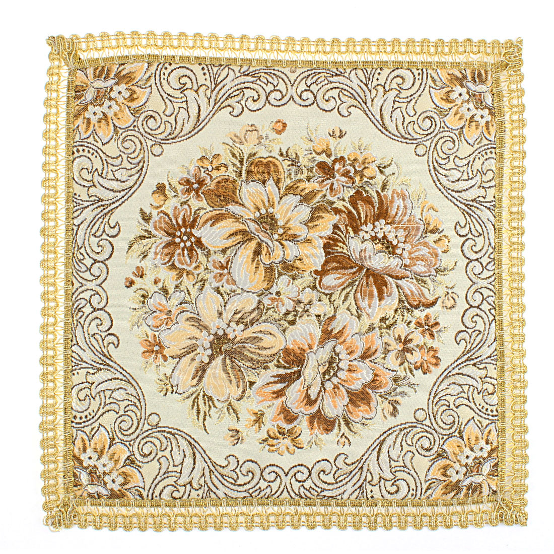 Square Shaped Flower Embroidery Table Cup Mat Placemat 32 x 32cm
