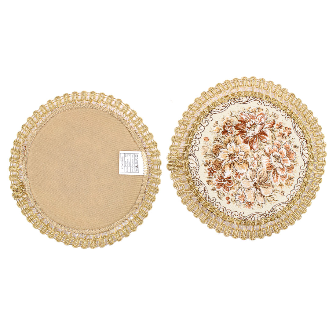 Floral Embroidered Scalloped Edge Table Cup Mat Placemat Coaster 17cm Dia 2pcs