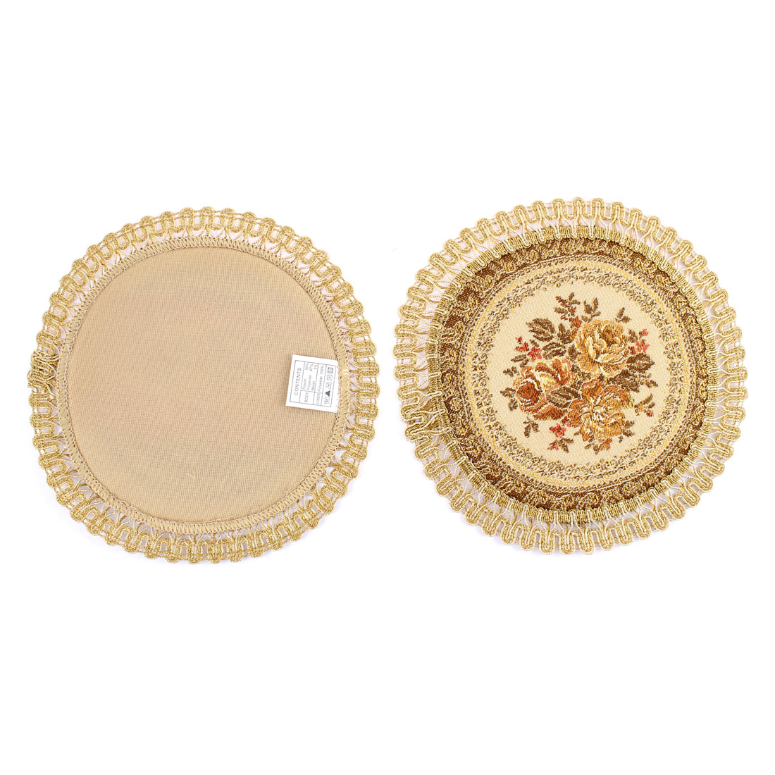 Home Restaurant Flower Embroidery Round Shaped Table Cup Mat Cushion 2pcs