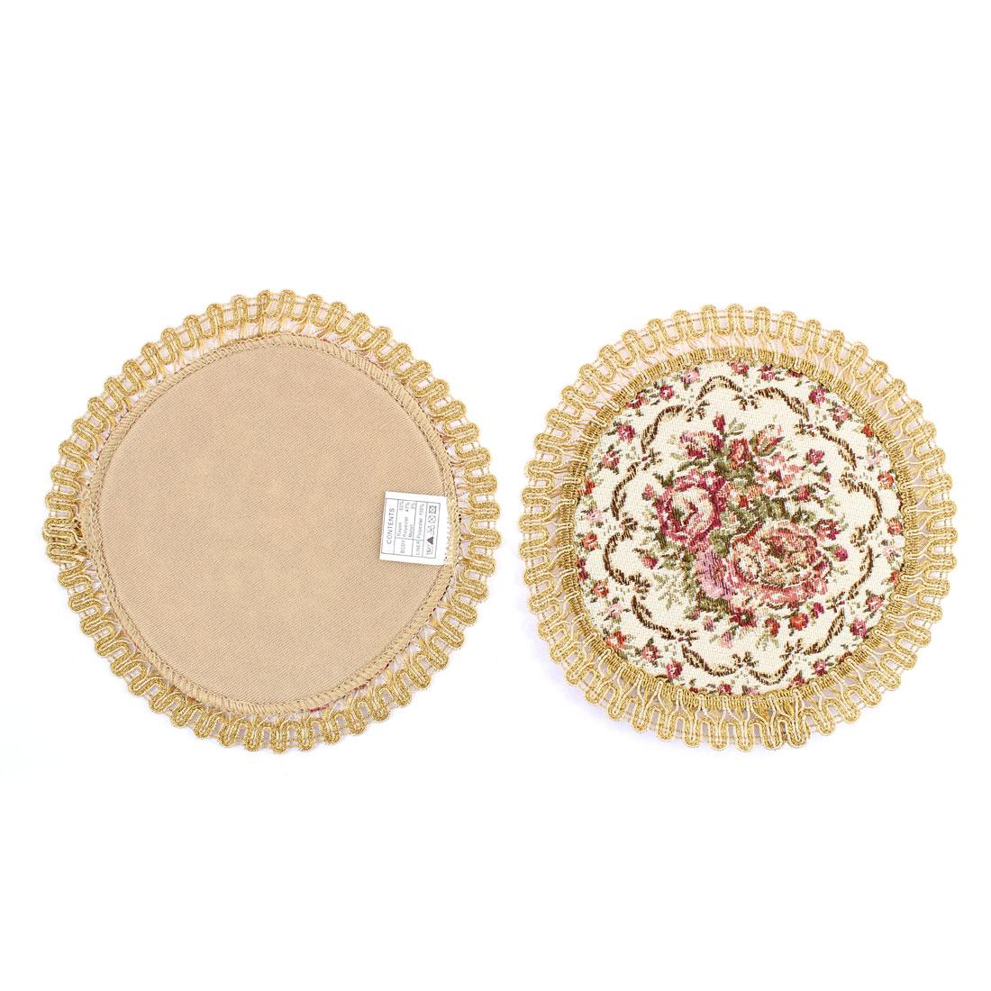 Restaurant Floral Pattern Insulation Table Mat Placemat Coaster 17cm Dia 2pcs