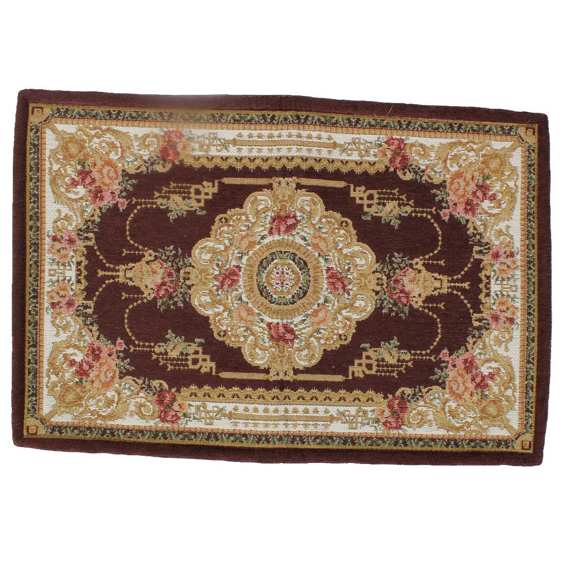Household Flower Pattern Rectangle Shaped Floor Mat Area Rug Carpet 60cm x 40cm