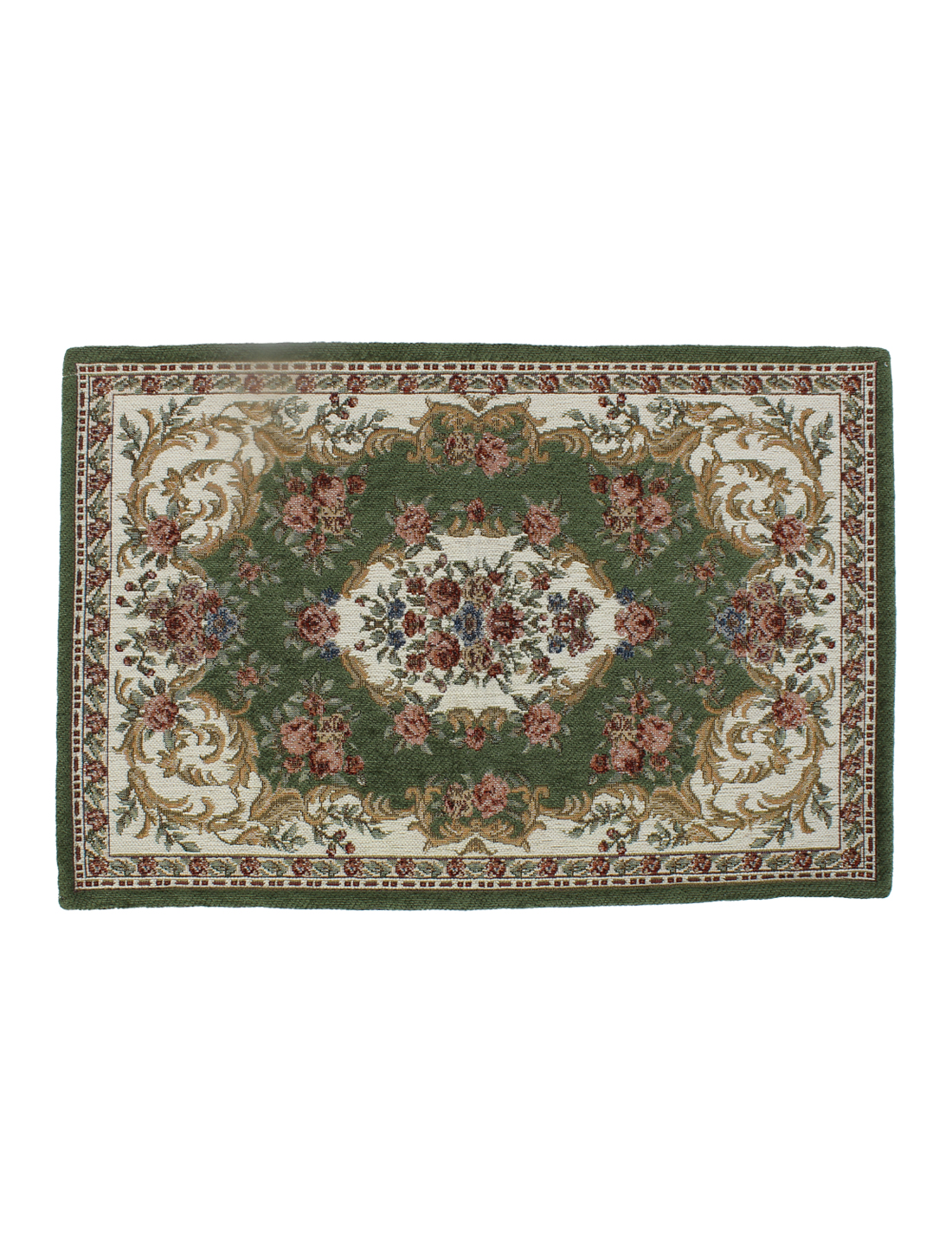 Home Flower Pattern Rectangle Shaped Floor Mat Area Rug Carpet Green 60x40cm