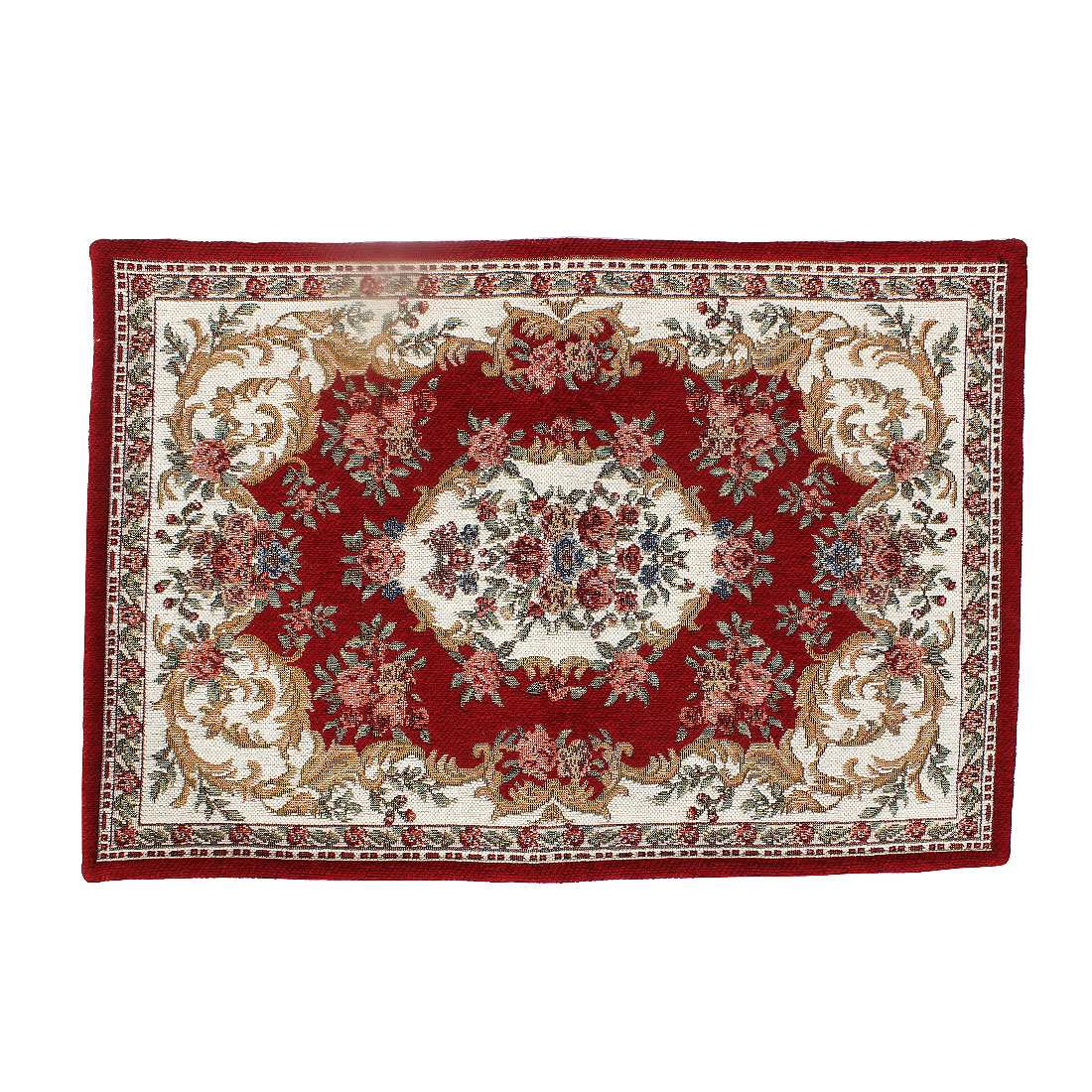 Home Flower Pattern Rectangle Shaped Floor Mat Area Rug Carpet Red 60x40cm