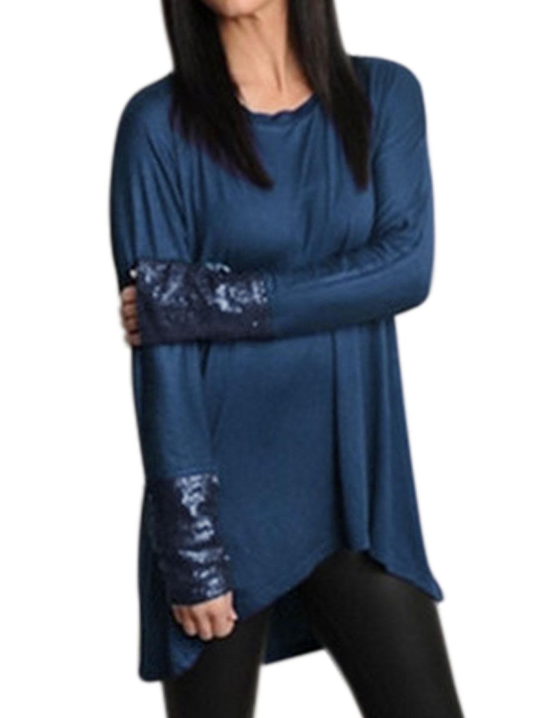Women Scoop Neck Long Raglan Sleeves Sequined High Low Hem Tunic Top Blue S