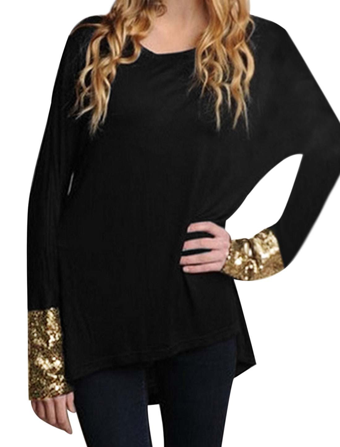 Lady Raglan Sleeves Sequins Decor High Low Hem Loose Fit Tunic Top Black S
