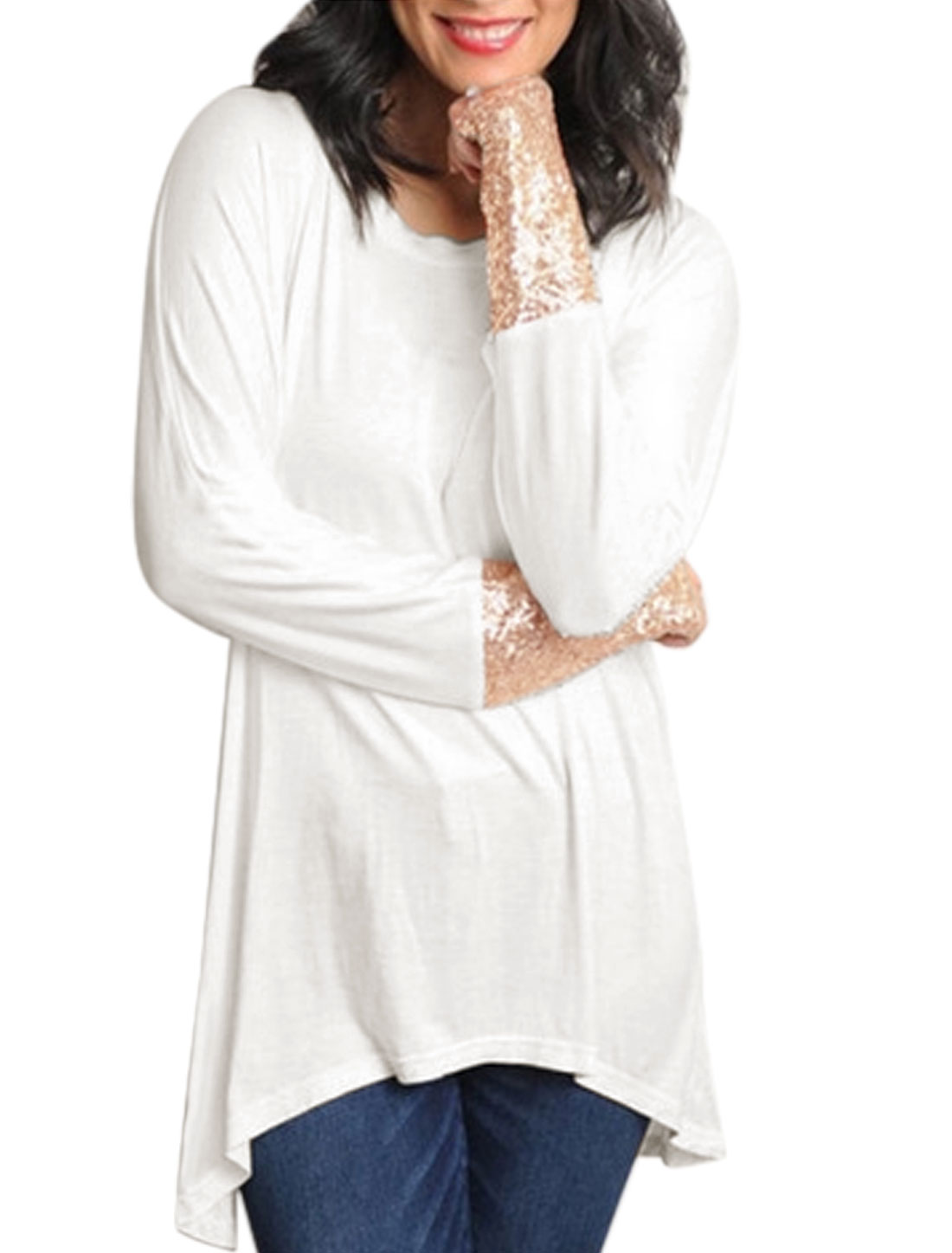 Ladies Long Sleeves Sequined High Low Hem Casual Tunic Tee Shirt White S