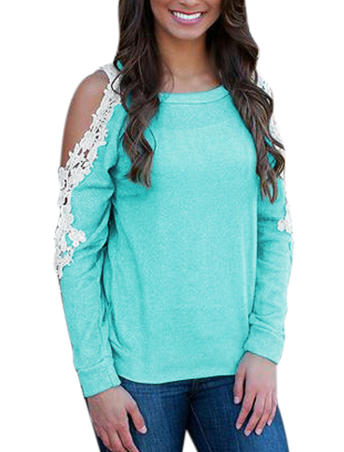 Lady Round Neck Cut Out Long Sleeves Crochet Design T-Shirt Blue XS