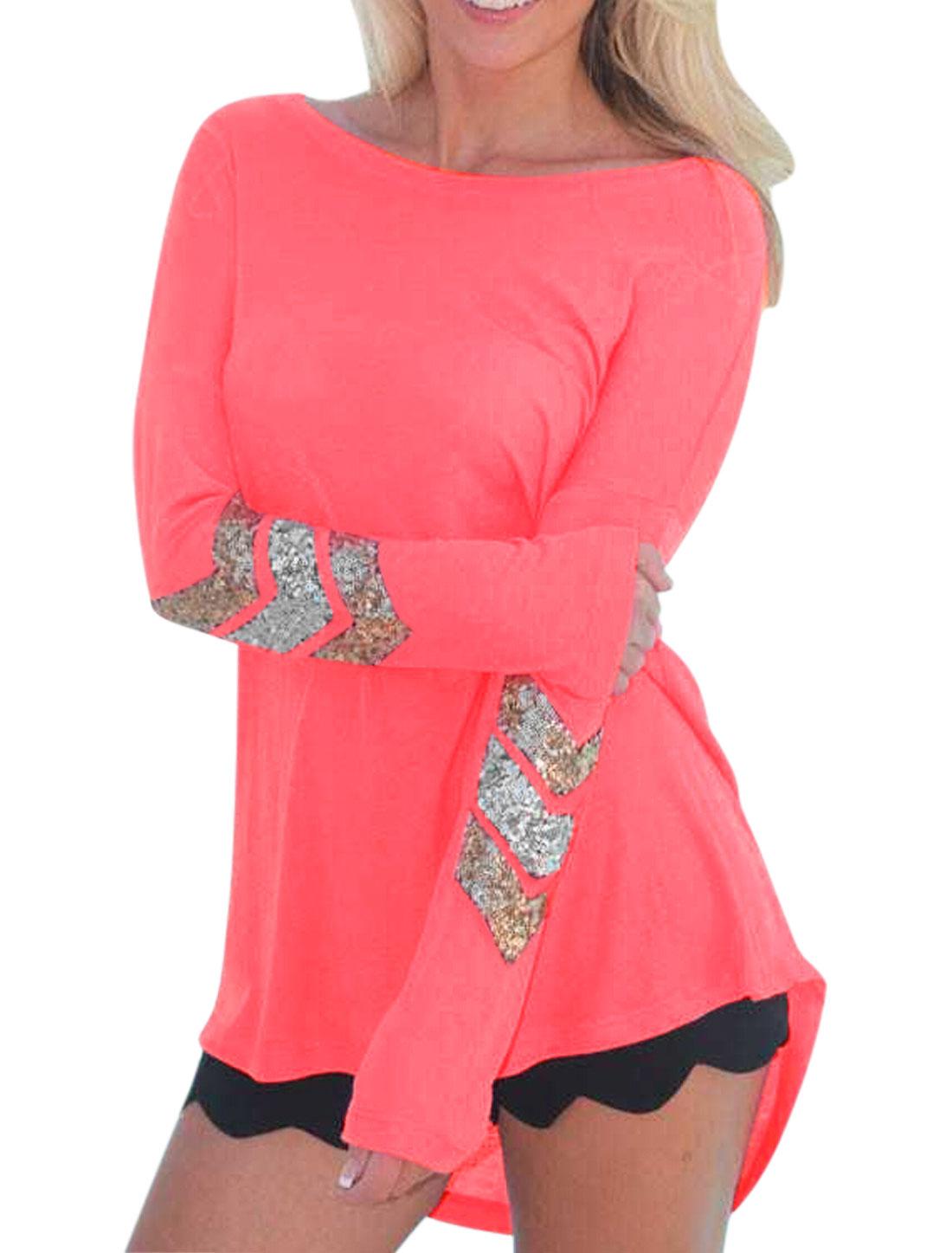 Women Long Batwing Sleeves Sequin Embellished High Low Hem T-Shirt Pink XS