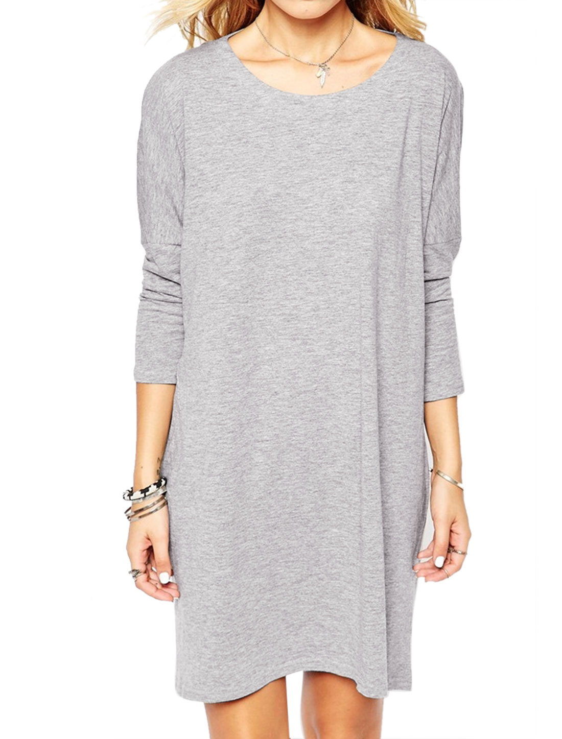 Women Round Neck Long Sleeves Cut Out Back Loose Fit Tunic Dress Gray S