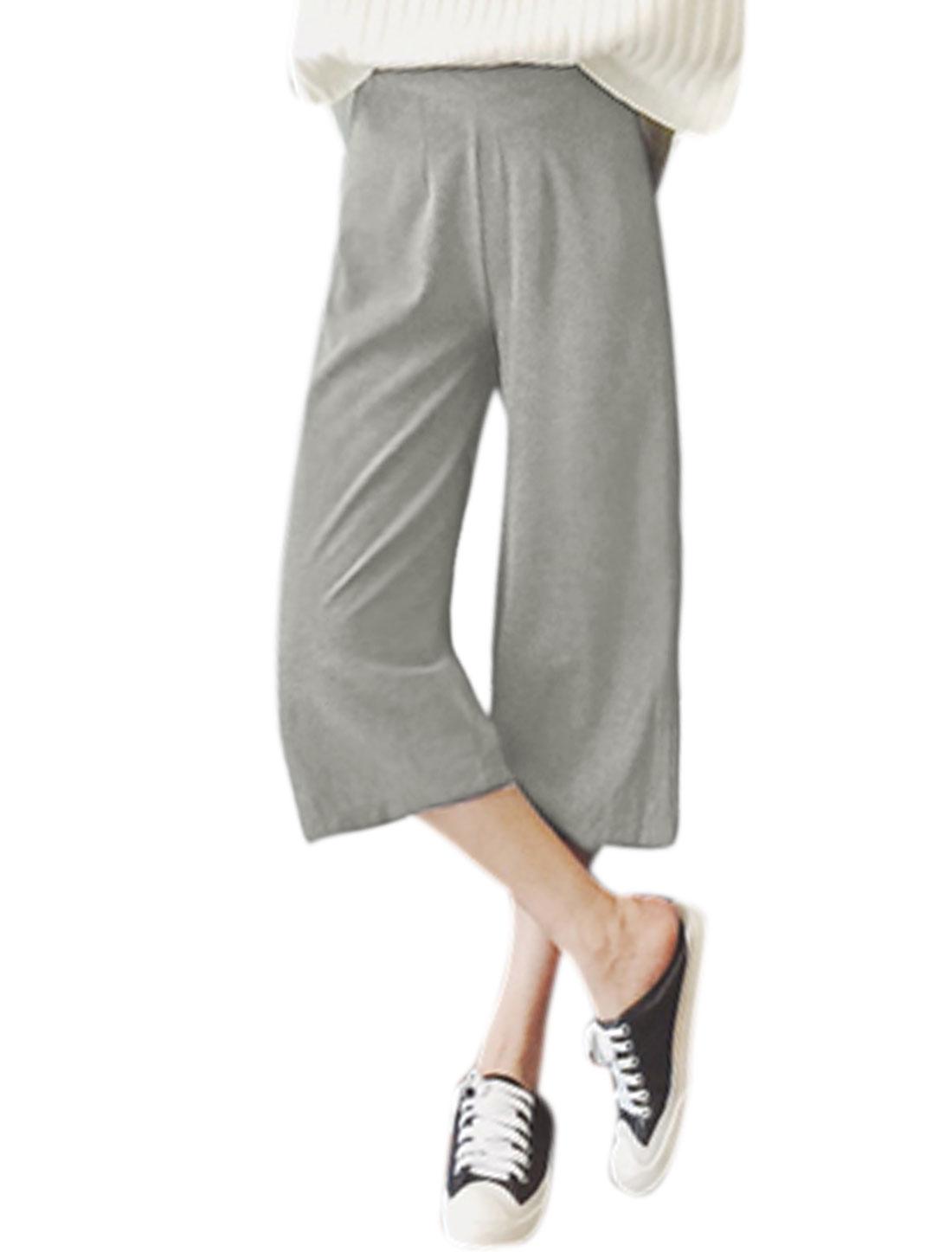 Women High Rise Hidden Zipper Side Casual Wide Leg Pants Gray L