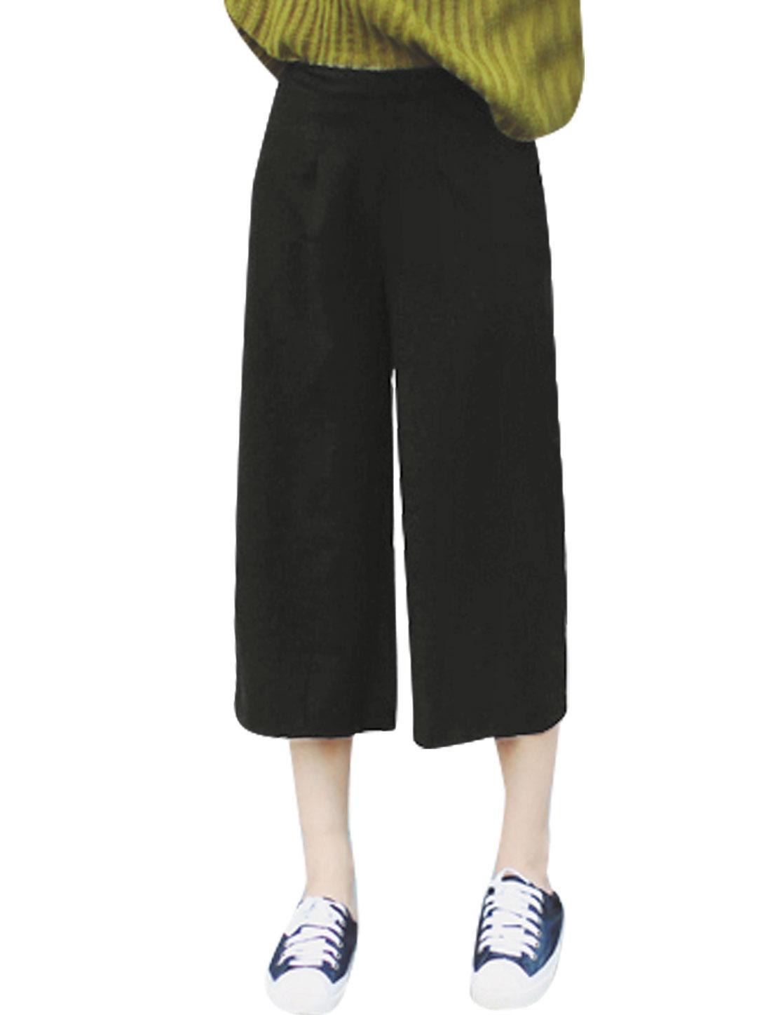 Ladies Concealed Zipper Side Wide Leg Capris Pants Black L