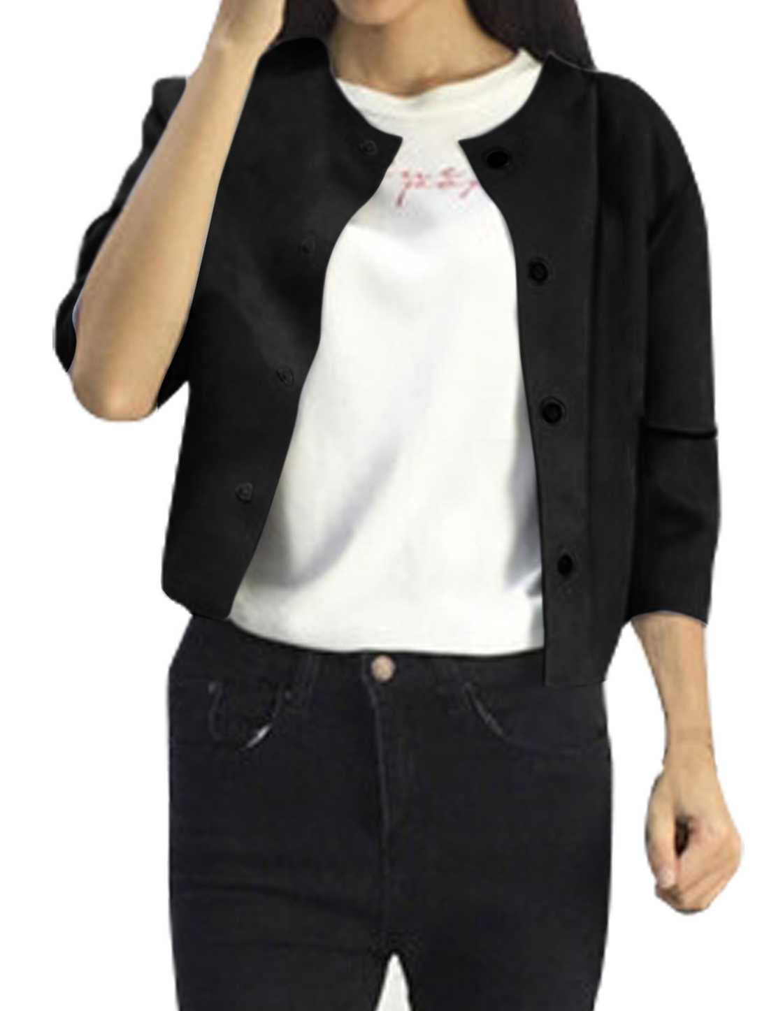 Lady Round Neck 3/4 Sleeves Single Breasted Casual Jacket Black XS