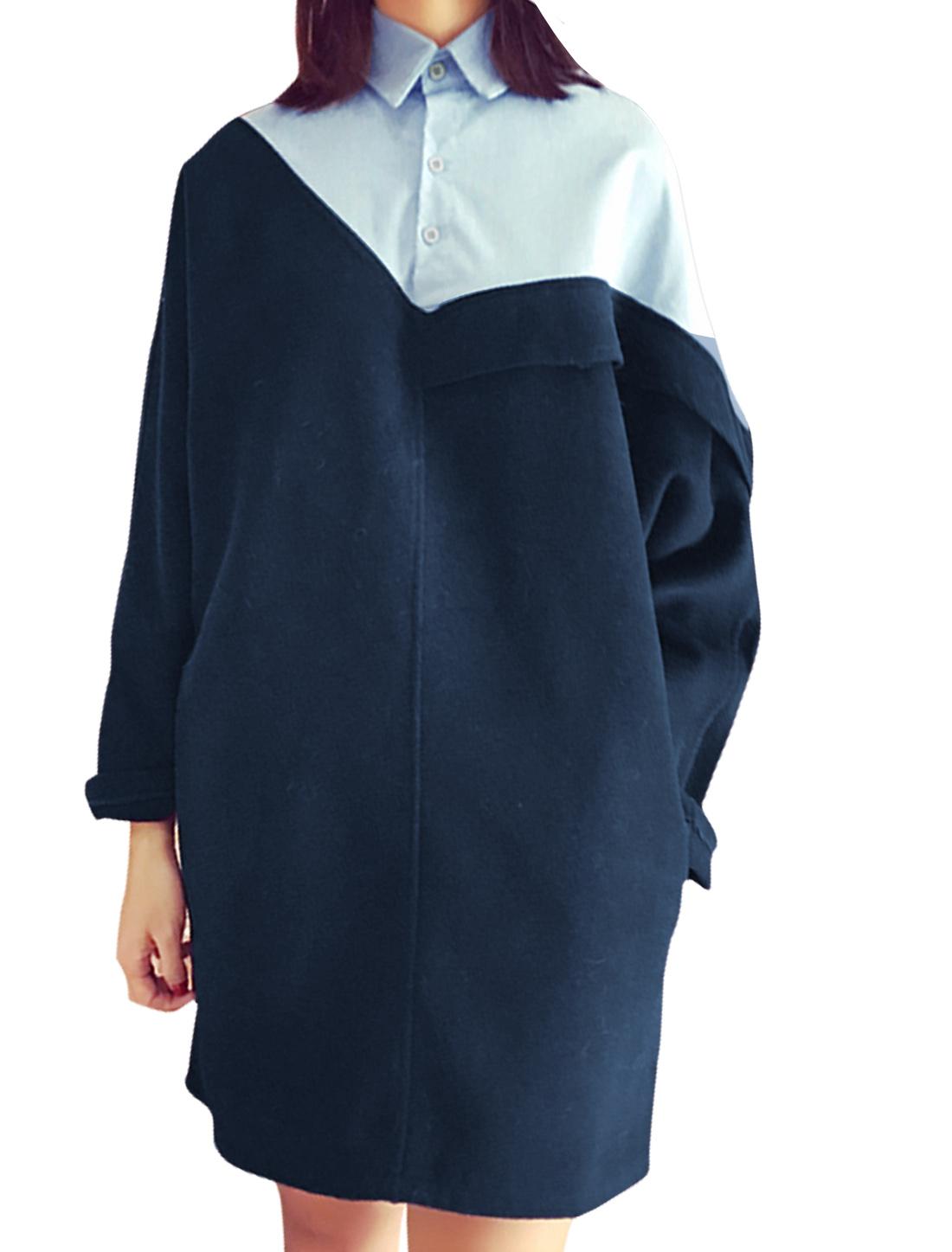 Women Half Button Closed Long Sleeves Panel Design Shirt Dress Blue XS