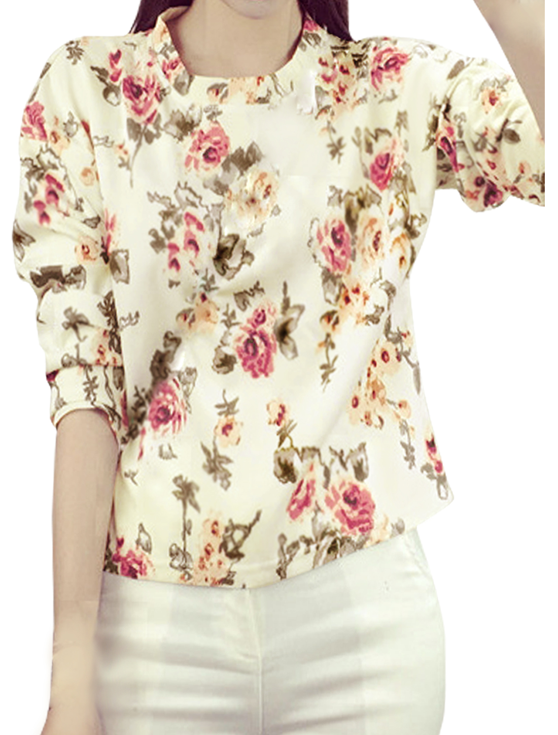 Women Crew Neck Long Sleeves Floral Pattern Chiffon Tee Shirt Beige XS