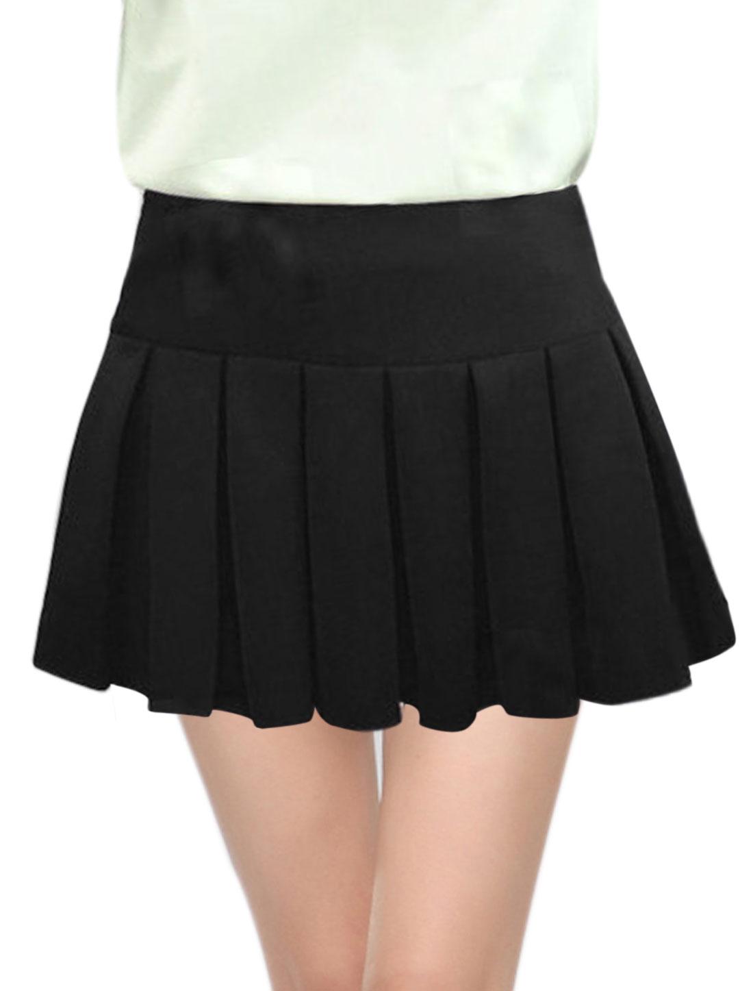 Women Mid Rise Pleated Layer Casual Mini Skorts Black M