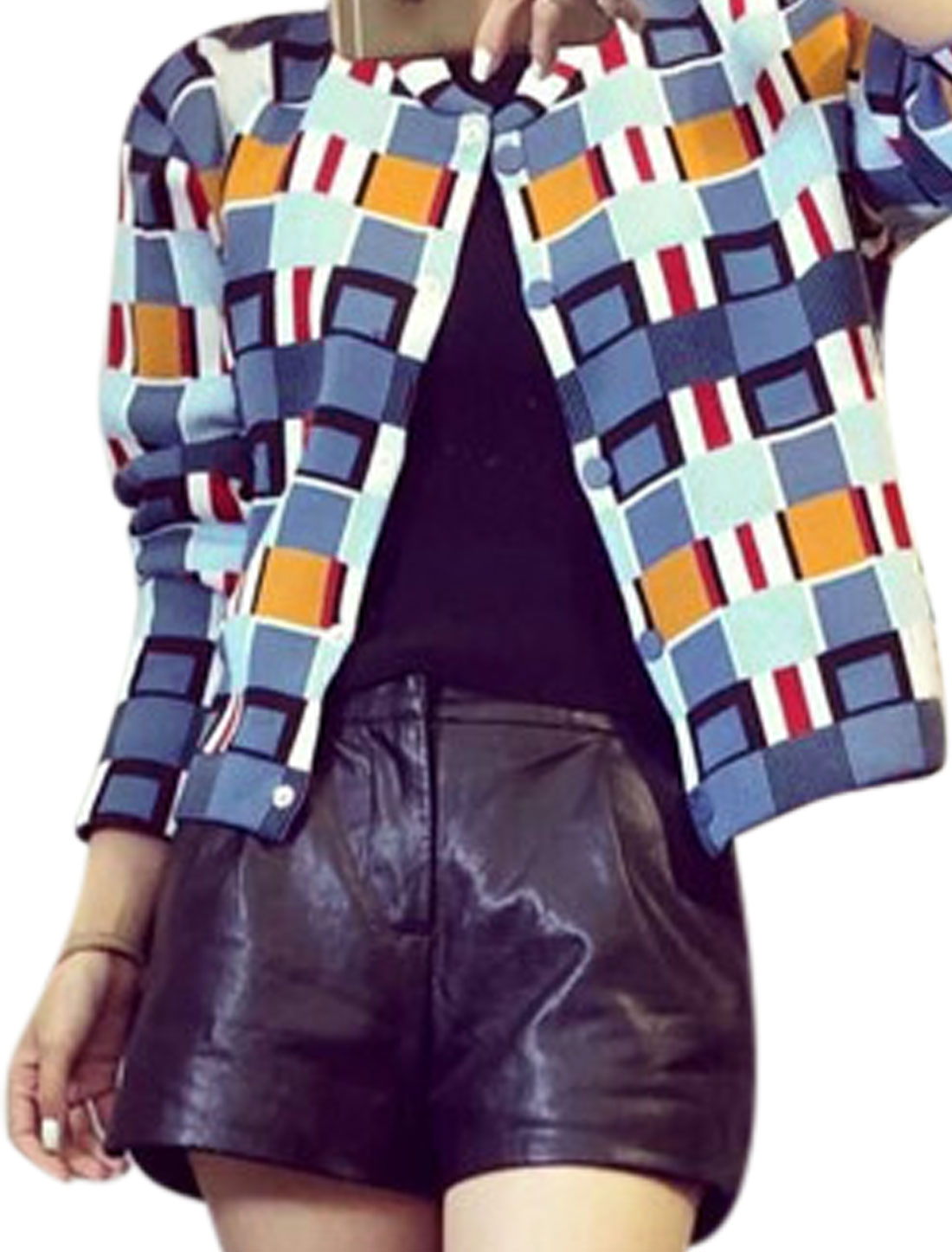 Women Stand Collar Button Closed Geometric Prints Casual Jacket Multi-Color XS