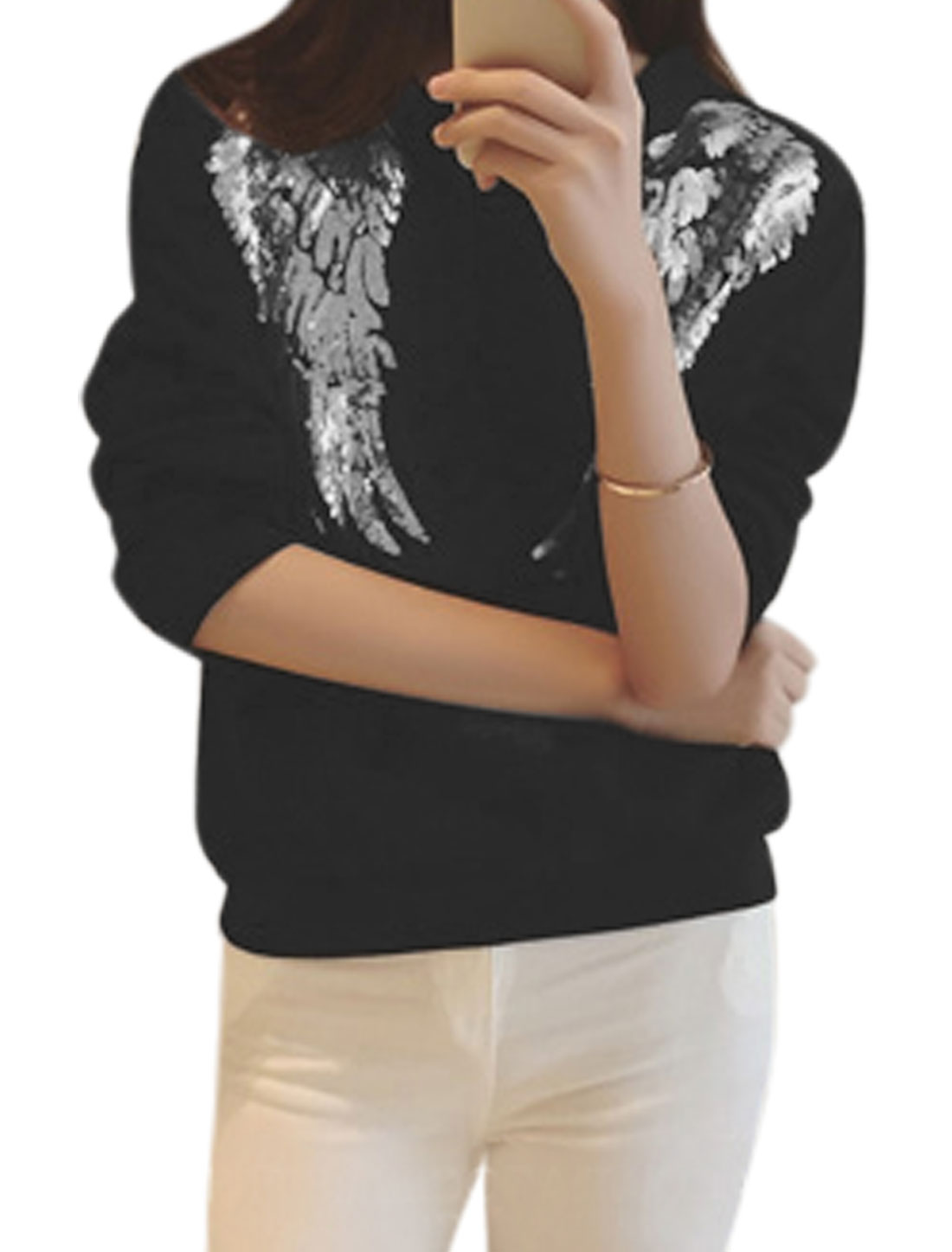 Women Crew Neck Long Sleeves Sequined Wing Pattern Casual Sweatshirt Black XS