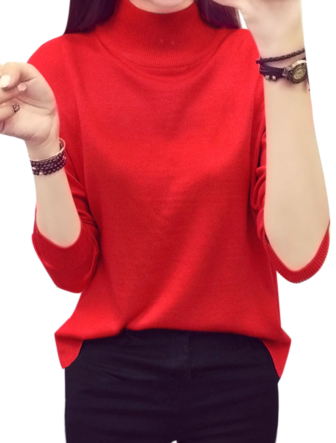 Ladies Mock Neck Pullover Split Sides Leisure Knit Shirt Red XS