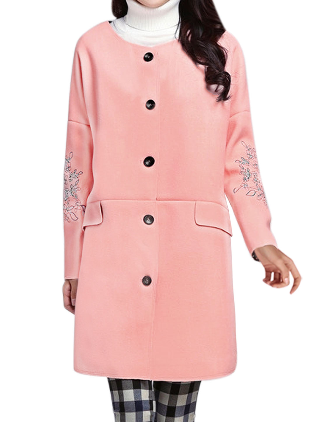 Women Round Neck Floral Stitching Button Front Worsted Coat Pink XS