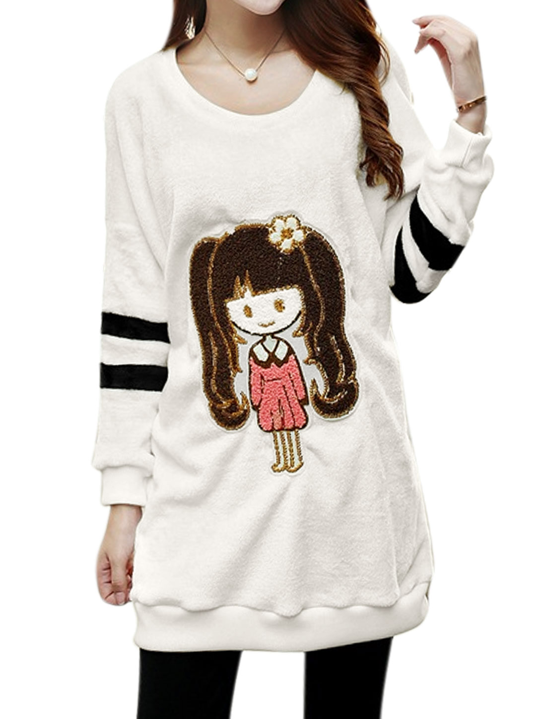 Women Batwing Sleeves Cartoon Applique Plush Tunic Sweatshirt White XS