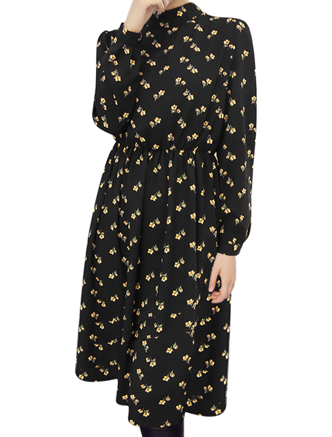 Lady Stand Collar Floral Prints Elastic Waist Shirt Dress Black XS