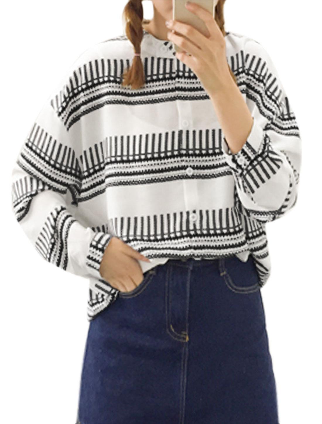 Women Dolman Sleeves Novelty Prints Button Closure Tunic Blouse White XS