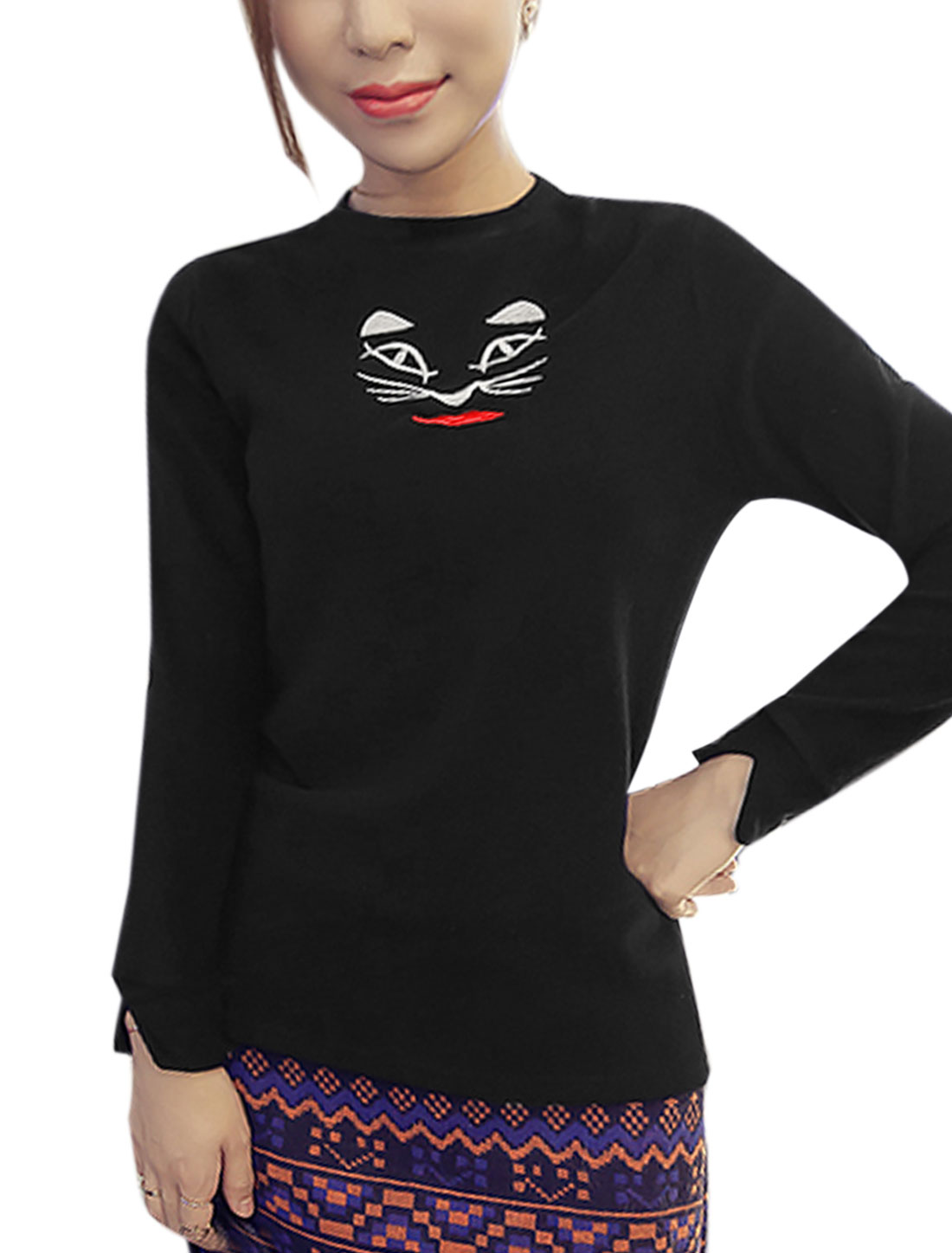 Lady Crew Neck Long Sleeves Cat Embroidery Casual Tee Shirt Black XS