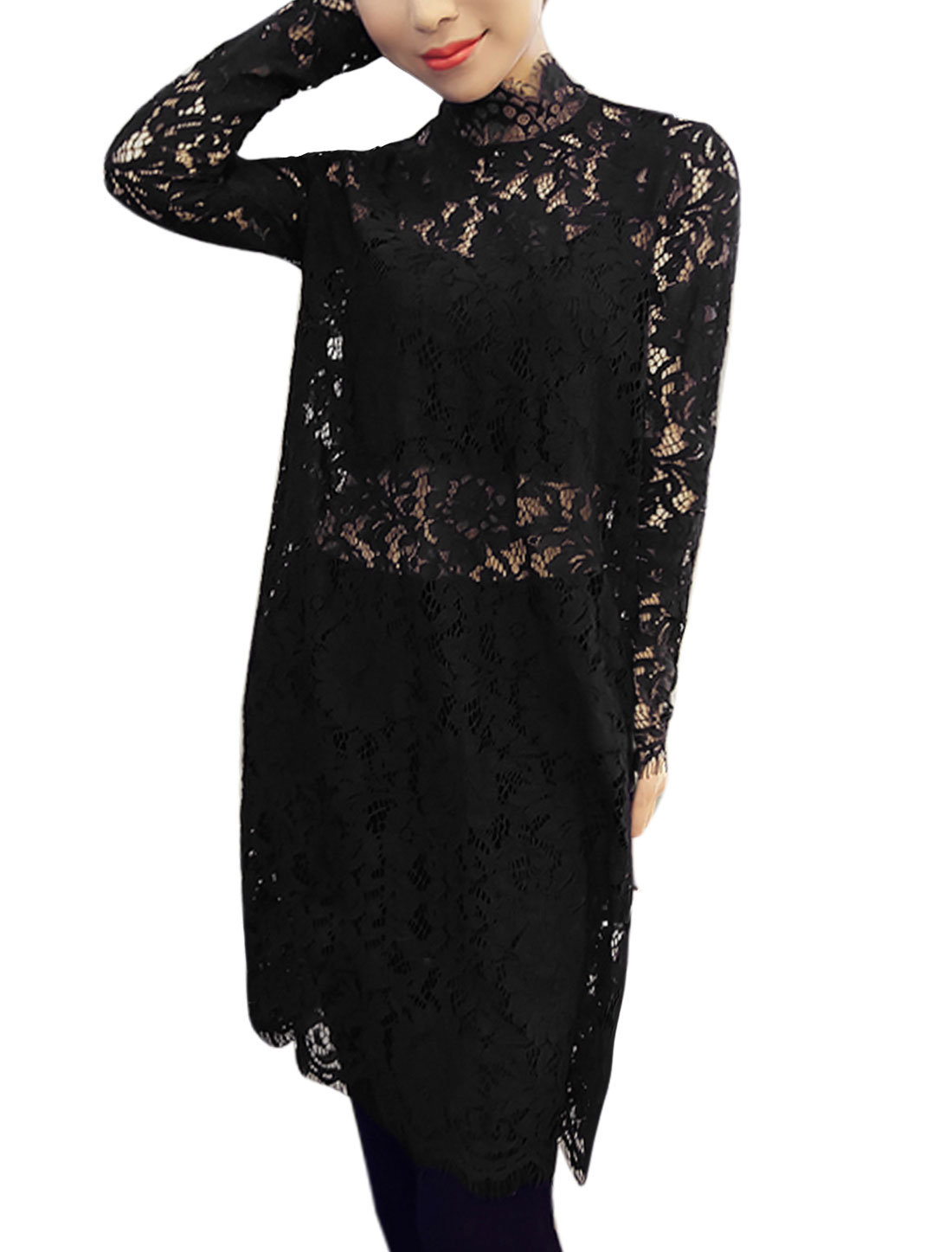 Ladies Long Sleeves See Through Sides Split Tunic Lace Top Black XS