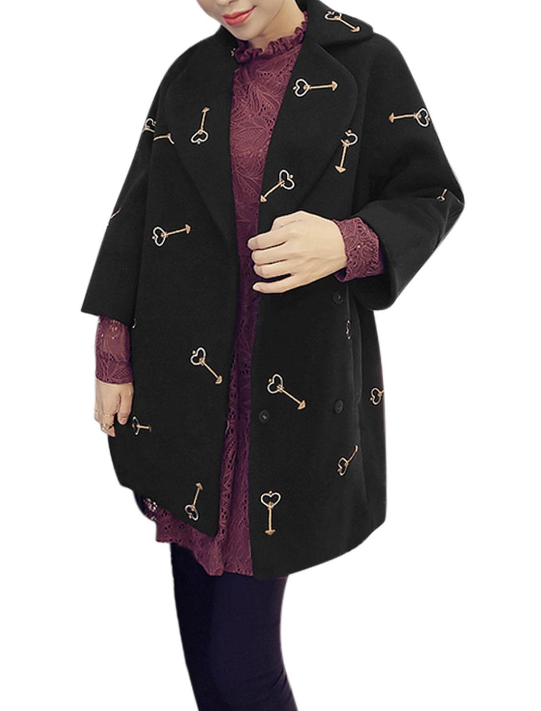 Women Bracelet Sleeves Keys Embroidery Tunic Worsted Coat Black XS