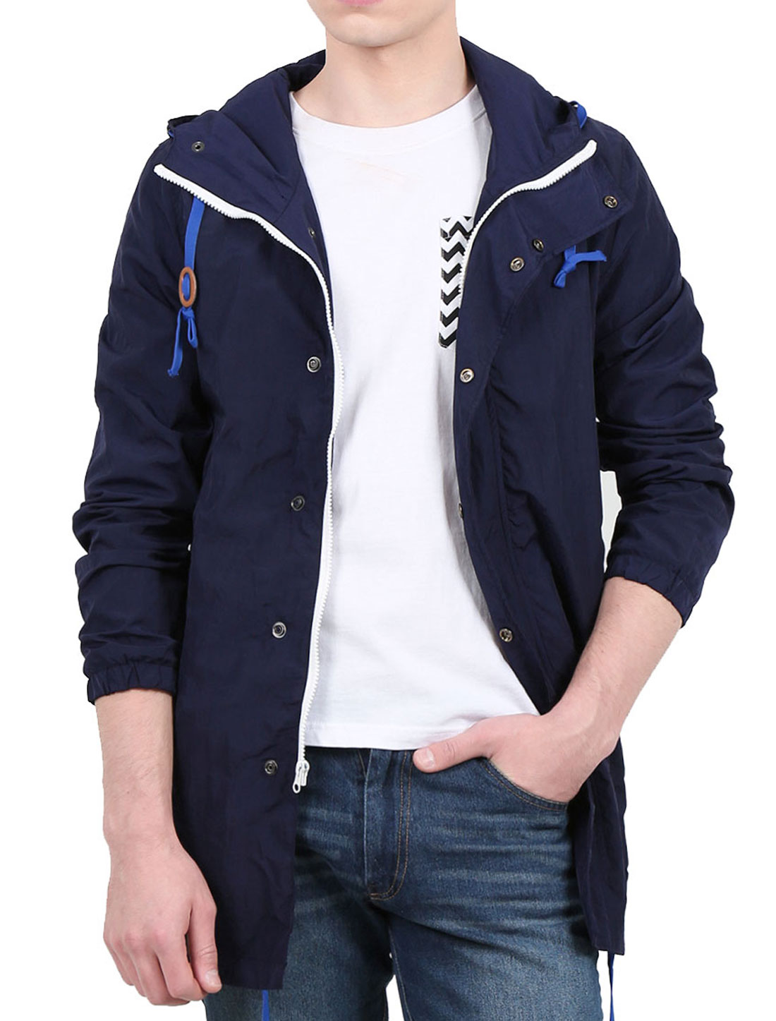 Men Or Youth Zip Front/ Pocket Long Sleeves Drawstring Hoodie Jacket Blue S