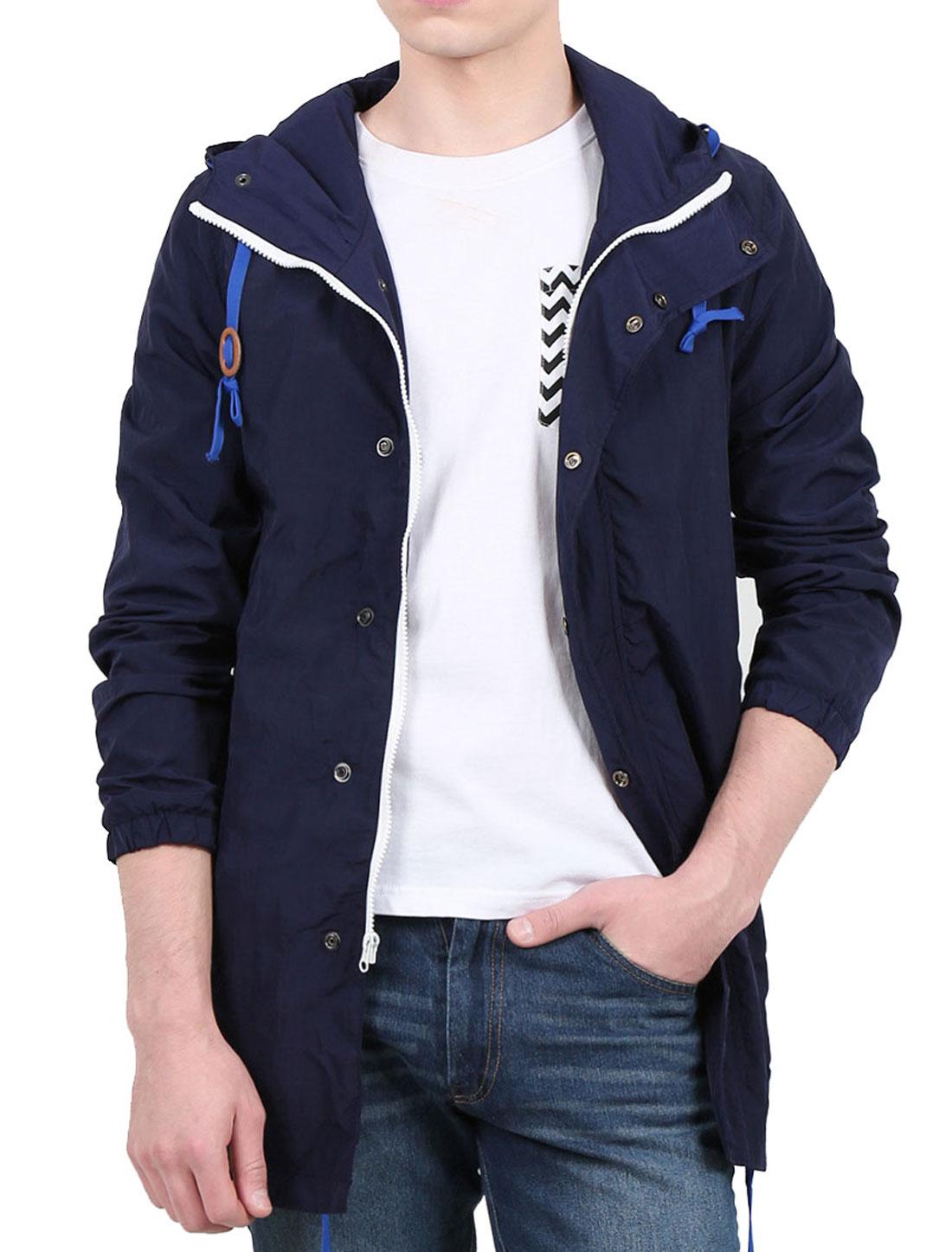 Men Concealed Placket Drawstring Hooded Windbreaker Jacket Blue S