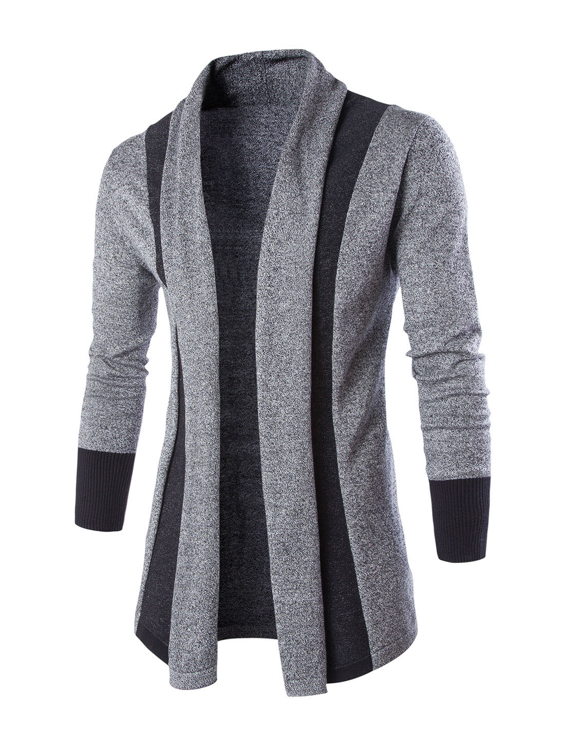 Men Shawl Collar Contrast Color Long Sleeves Knit Cardigan Gray L