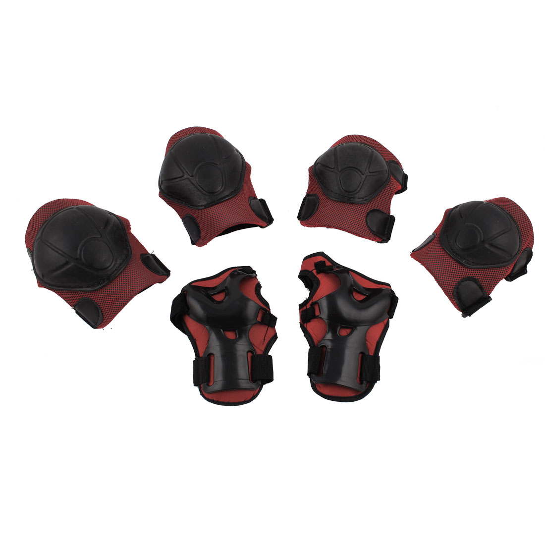 Outdoor Sports Skiing Skating Palm Elbow Knee Support Guard Pad Protector Set Red 6 in 1