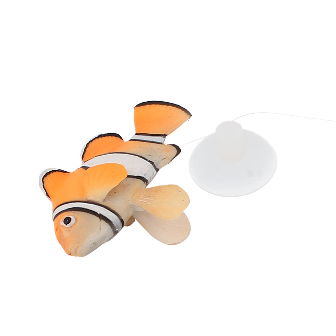 White Yellow Silicone Artificial Floating Clownfish Decor Aquarium Ornament w Suction Cup for Fish Tank