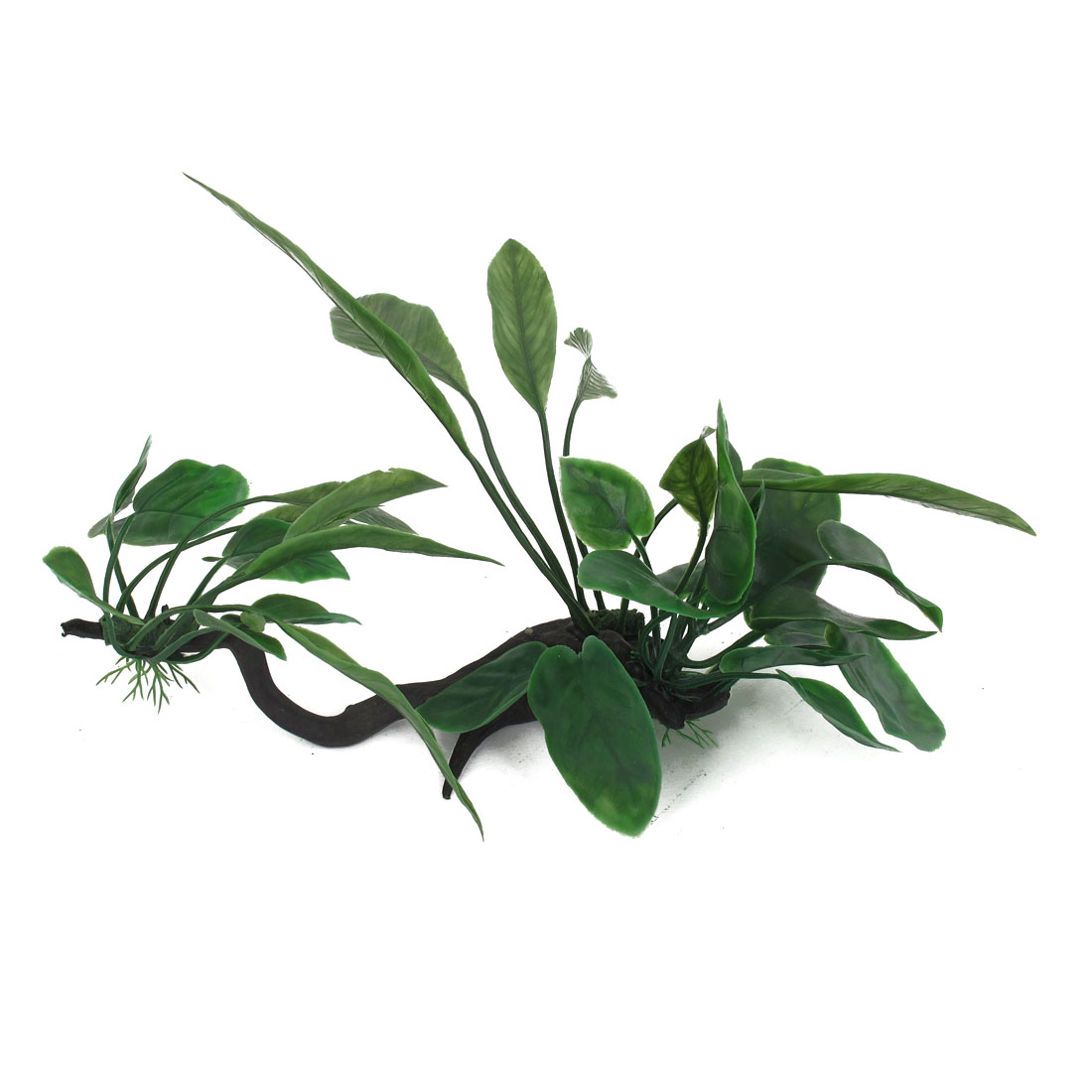 "6.7"" Height Green Plastic Oval Shaped Leaf Underwater Emulational Ornament Plant for Fish Tank Aquarium"