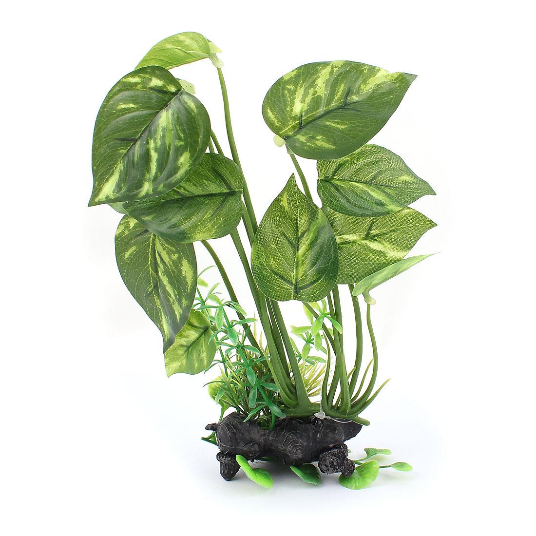 "8.9"" Height Green Plastic Artificial Emulational Decor Aquascaping Ceramic Base Underwater Leaf Grass Plant for Aquarium Fishbowl"