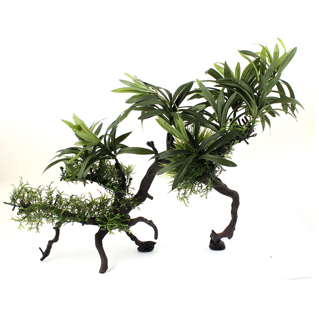 Green Plastic Artificial Manmade Decoration Ornament Floating Underwater Aquascaping Tree Plant for Aquarium Fish Tank