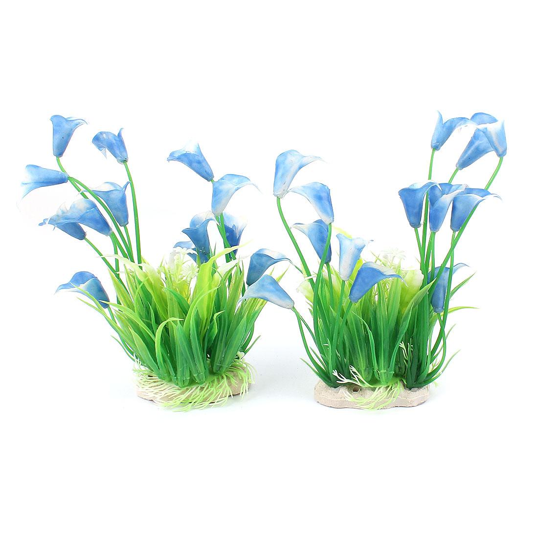 2 Pcs Green Blue Plastic Ceramic Base Artificial Ornament Emulational Aquatic Plant Flower for Aquarium Fishbowl