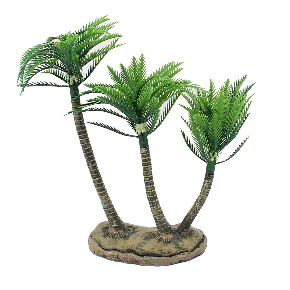 Green Tan Plastic Coconut TreeUnderwater Aquarium Plant Grass Manmade Fish Tank Decoration