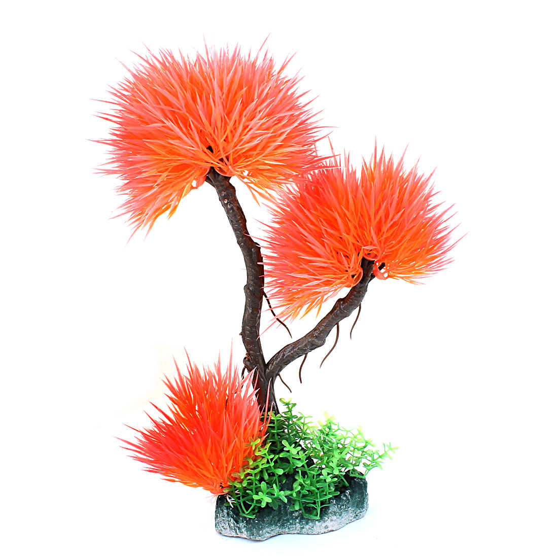 Colorful Plastic Ball Shaped Grass Tree Design Artificial Ornament Decoration Plant for Aquarium