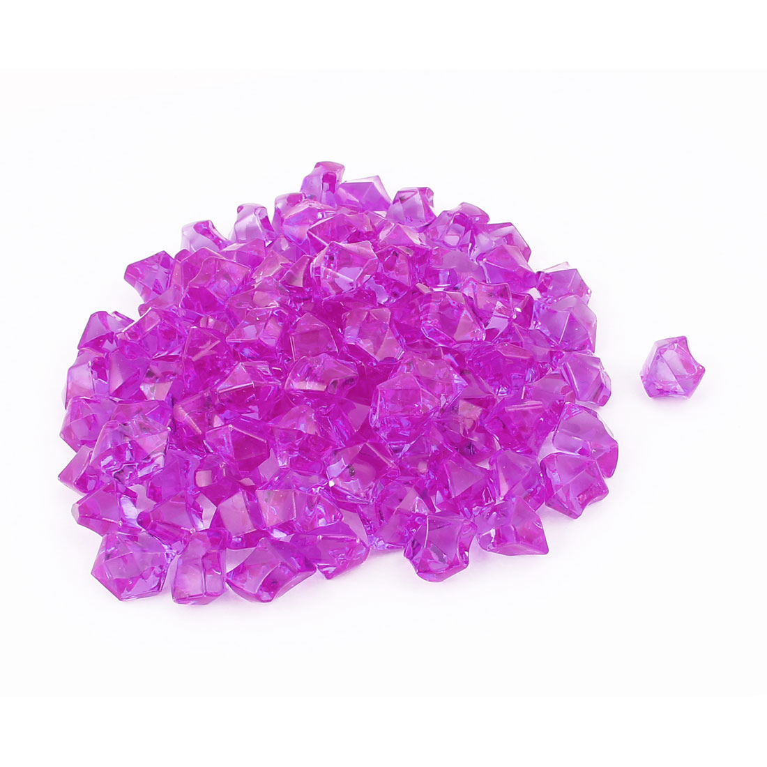 110 Pcs 1.5cm Length Purple Plastic Atificial Polygon Decoration Aquarium Ornament Crystal Stones for Fish Tank