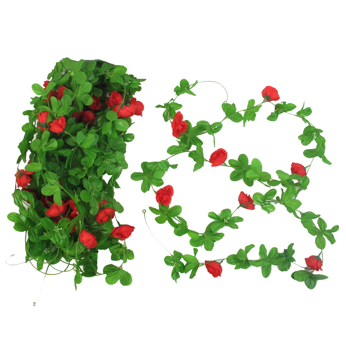 5 Pcs 2.4M Long Green Red Plastic Fabric Artificial Rose Flower Emulational Ornament Hanging Vine
