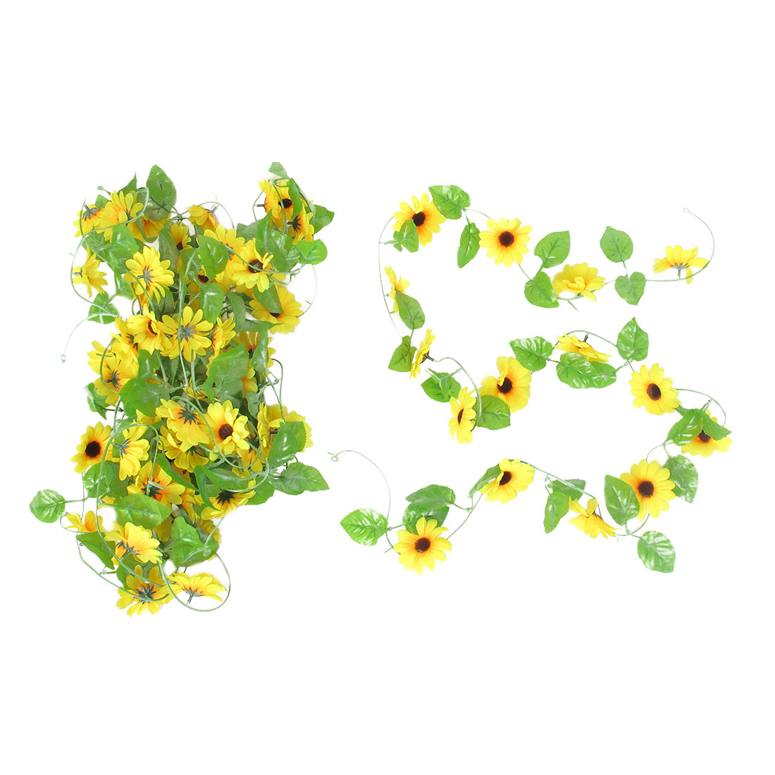 5 Pcs 2.4M Long Colorful Plastic Fabric Sunflower Emulational Manmade Ornament Hanging Vine