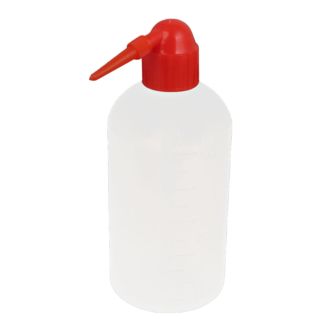 500mL Capacity Red Cover Bent Tip Plastic Cleaning Alcohol Container Tattoo Wash Squeeze Bottle